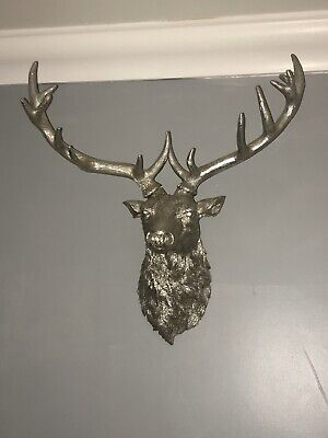 £40 • Buy Large Silver Stag, Wall Art, Animal Head, Stag Head,large Wall Mounted Deer Head