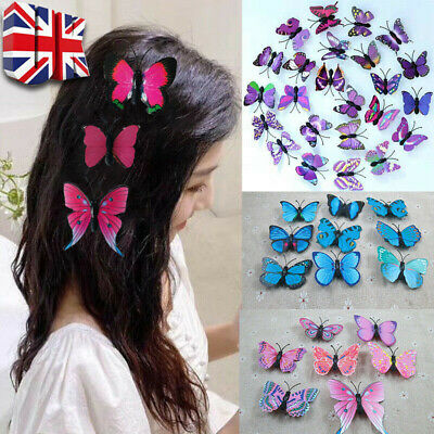 £1.98 • Buy 10Pcs 3D Butterfly Hair Clips Hairpin Accessory Festival Party Wedding Bridal UK