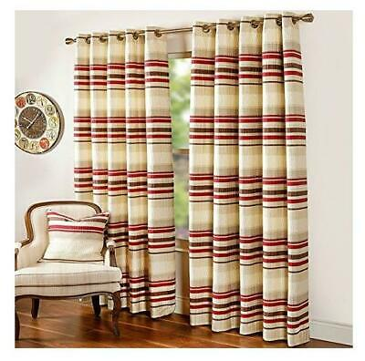 £161.97 • Buy Scatter Box Stripe Embroidered Lined Eyelet Curtains, Mocha Red 90 X90