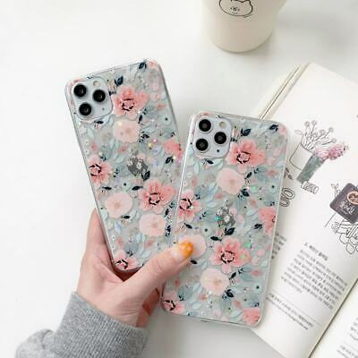 AU6.68 • Buy Glitter Flower Clear TPU Case For IPhone 7 8Plus 11 12 Pro Max XS XR Phone Cover