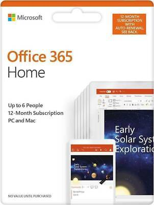 AU105.50 • Buy Microsoft Office 365 HOME FAMILY 1 Year Subscription Of Latest MS OFFICE 6 USERS