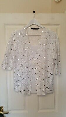 £14.99 • Buy Forever By Michael Gold Pure White Seqiuned Floral Glitter Blouse Size L New.
