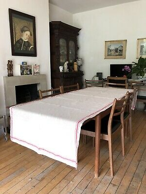 £45 • Buy Vintage -  French - Homespun - Rustic Textured Heavy Linen - Table Runner