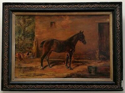 £24 • Buy Antique 19th Century Oil Portrait Bay Horse In A Farmyard Animal Painting