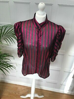 £6 • Buy Vintage Dark Red Shiny Blouse With Interwoven Short Puffed Sleeves Size 10