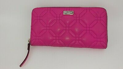 $ CDN26.96 • Buy Kate Spade Astor Court Neda Zip Around Wallet Quilted Leather Solid Fuscia