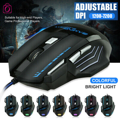AU13.99 • Buy 7 Buttons Gaming Mouse 7200DPI LED Optical Wired USB Mice For PC Laptop Mac New