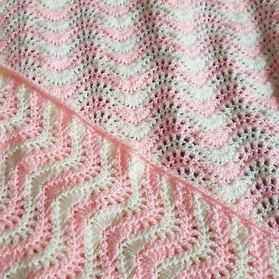 £15 • Buy Crochet Baby Blanket 31  X 35 , Handmade Soft Cream And Pink Ripple Lace Pattern