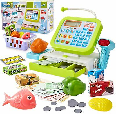 £20.99 • Buy Kids Toy Till Cash Register With Light And Sound Scanner Pretend Role Playset