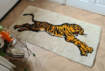 £150 • Buy Vintage Retro Mid Century 70s Readcut Completed Latchhook Tiger Rug Wallhanging
