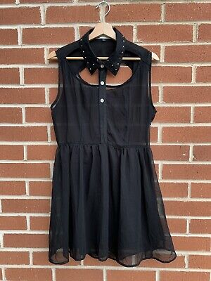 £14 • Buy Hearts And Bows Chiffon Cut Out Black Dress With Collar Size 12