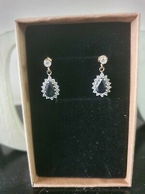 £200 • Buy Sapphire And Diamond Drop Earrings  9ct Gold Cluster