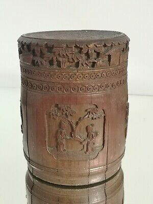 £95 • Buy Rare Chinese Antique Carved Bamboo Pot / Tea Caddy Signed