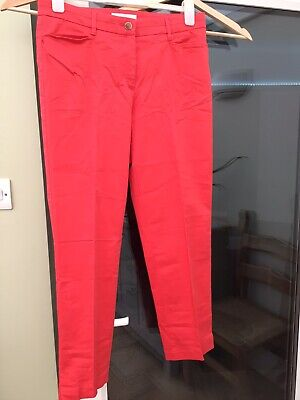 £5 • Buy Coral/red Brax X & More Cropped Cottom Mix Capri Trousers.  Size 14.