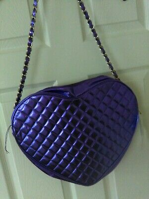 £3.50 • Buy Justin Beiber Metallic Purple Quilted Heart Shoulder Bag With Zip & Chain Strap.