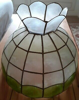 £19 • Buy Vintage Art Deco Capiz Shell Light Shade With Crown. Green/ivory 12 /30cm
