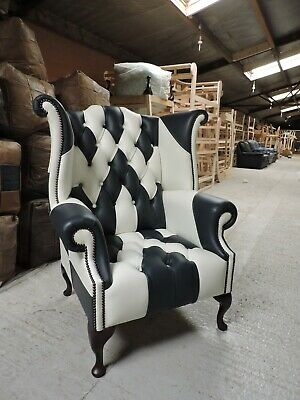 £799 • Buy Chesterfield Patchwork LEATHER Queen Anne Wing Back Chair HARLEQUIN IN STOCK