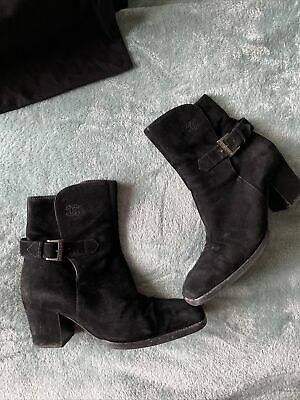 £100 • Buy CHANEL Black Vintage Beautiful Logo Real Suede Heels Ankle Boots Size 37 UK 4