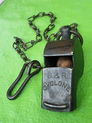 $29.95 • Buy Vintage Brass Military Police Trench Whistle B&R CYCLONE Cork Ball + Metal Chain