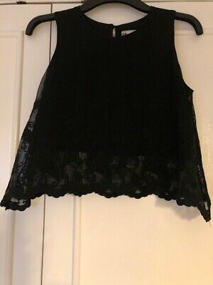 £4 • Buy Hearts And Bows Ladies Black Lace Look Crop Top - Size 10