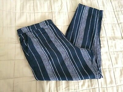 £3.99 • Buy Lovely Black & Grey Striped F&F Linen Mix Trousers Size 16