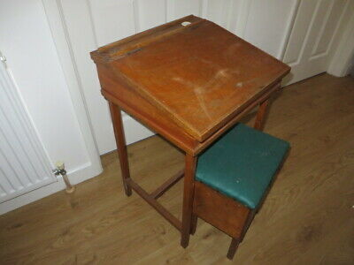 £30 • Buy Vintage Wooden School Desk With Lifting Lid & Ceramic Ink Well Insert + Stool
