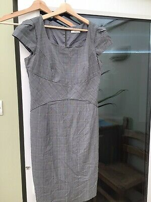 £5 • Buy M&S Size 14, Grey Checked Shift Dress, Knee Length, Machine Washable