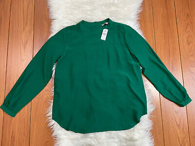 £17.69 • Buy NWT Ann Taylor Loft Green Peasant Top Long Sleeve Button Accent Blouse Size M
