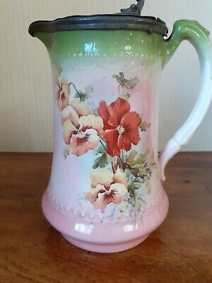 £10 • Buy Antique Victorian Jug With Pewter Lid - Floral