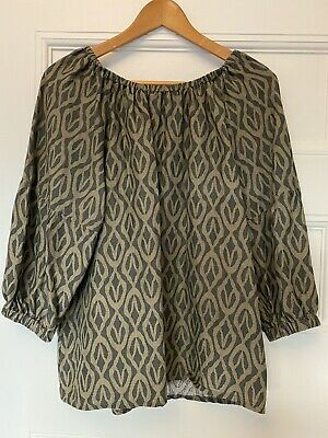 AU14.50 • Buy Country Road Womens Off-the-Shoulder Green Khaki Print Relaxed Top Size 6