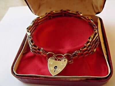 £299 • Buy Gold 9ct 9k 5 Bar Gate Bracelet With Heart Padlock And Safety Chain Unworn Cond.