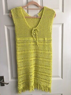 £20 • Buy Monsoon Stretch Crochet Yellow/Lime Beach Cover Up Dress Size M