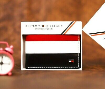 £17.99 • Buy Mens Leather Wallet 'Tommy Hilfiger' Black,White,Red Bifold,Card Slot,pass Case