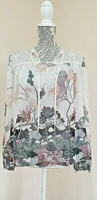 £15 • Buy Ted Baker Floral Print Blouse Top Chiffon See Through Size 10 2 Long Sleeve