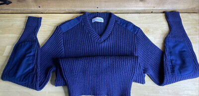 $19.99 • Buy Vintage Us Military Usaf Blue Iron Run 100% Wool Sweater W/ Patch Elbows. Sz 40