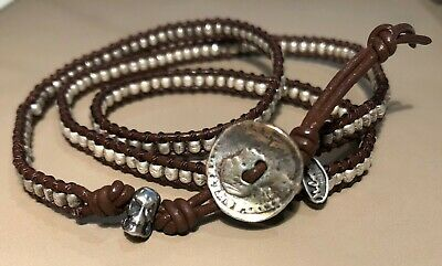 $169 • Buy M. Cohen Leather Silver Beaded Wrap 925 Sterling Coin Skull Bracelet Necklace EX