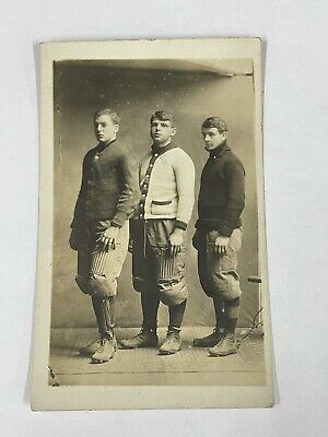 £35.45 • Buy Early 1900's Football Team 3 Players Real Photo Postcard Vintage Antique RPPC