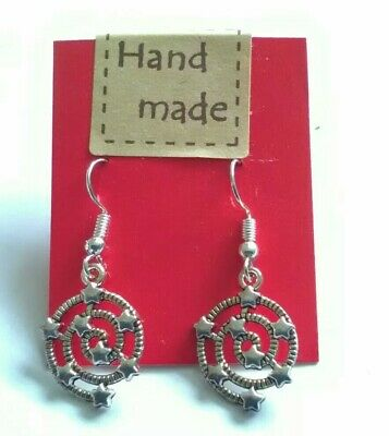 £0.99 • Buy  Silver Tone Ornate Spiral Drop Earrings With Star Detail