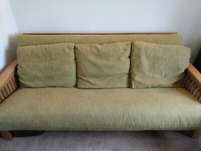 £249.99 • Buy Futon Company Solid Oak 3 Seater Sofa Bed Light Green With Cushions