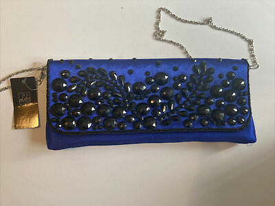 £3.60 • Buy Leko London Beaded Clutch Bag. Blue With Black Beading. Sliver Strap. With Tag