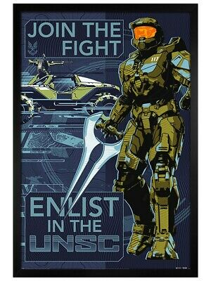 £34.49 • Buy Halo Maxi Poster Black Wooden Framed Infinite Join The Fight 61x91.5cm