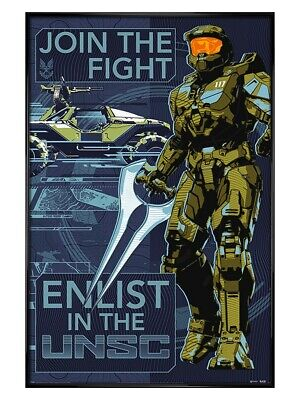 £31.49 • Buy Halo Maxi Poster Gloss Black Framed Infinite Join The Fight 61x91.5cm