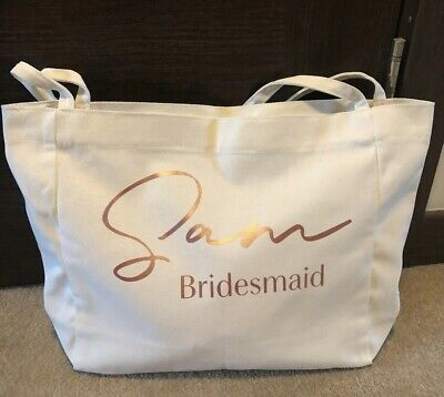£8.99 • Buy Personalised Bridesmaids,Hen,Tote Beach Bag, Bride,Any Name & Logo In Any Colour