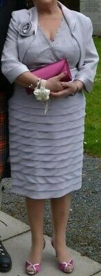 £100 • Buy Veni Infantino For Ronald Joyce Mother Of The Bride Silver Dress With Jacket, 16
