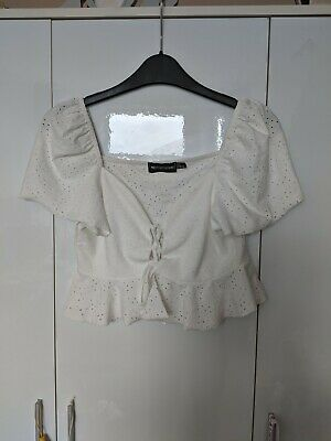 £3 • Buy Pretty Little Thing White Lace Up Cut Out Crop Top Size 8