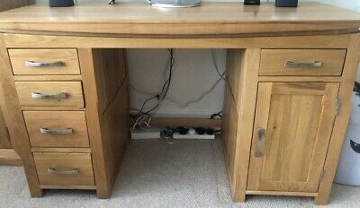 £100 • Buy Solid Oak Office Desk With Computer Cupboard And Drawers - Excellent Condition
