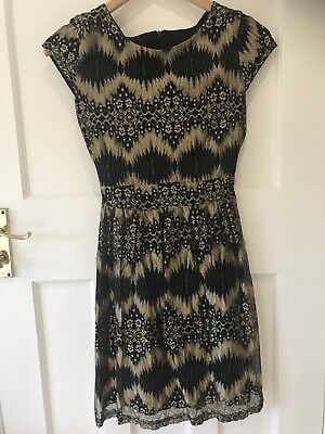 £4.99 • Buy Perfect Teen Prom Party Dress,black/gold,uk Size 8,worn Once,excellent Condition