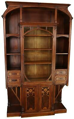 $9759 • Buy Antique Display Cabinet Art Nouveau Satinwood Inlay Mahogany Inlaid Glass D