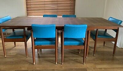 AU1450 • Buy Mid Century Retro Dining Table Set - 6 Chairs Including 2 Carvers