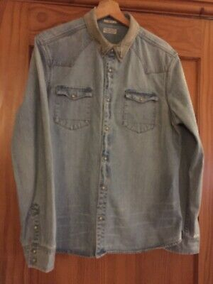 £28 • Buy All Saints Denim Shirt/Jacket Size Large Slim Fit With Cord Collar